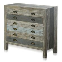 SEAMOORE CHEST  34in w. X 32in ht. X 15in d.  Painted Finish Three Drawer Sea Blue Cabinet made of
