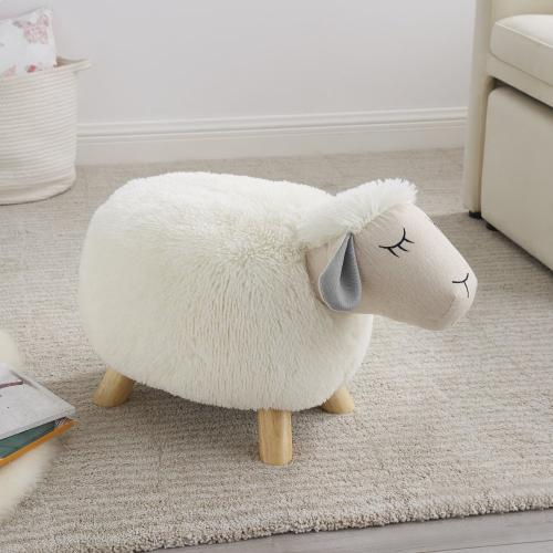 Upholstered Faux Fur Stool No Storage, White and Natural