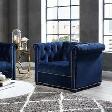 Heritage Performance Velvet Armchair in Midnight Blue