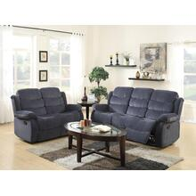 COBALT GREY SHORT PLUSH RECLINING SOFA AND LOVE SEAT