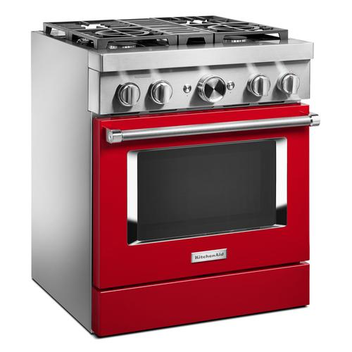 KitchenAid® 30'' Smart Commercial-Style Dual Fuel Range with 4 Burners - Passion Red