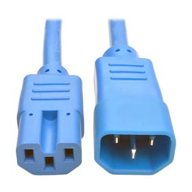 Power Cord C14 to C15 - Heavy Duty, 15A, 250V, 14 AWG, 2 ft., Blue