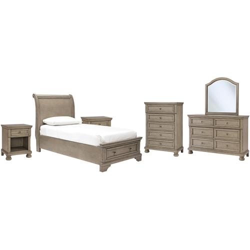Ashley - Twin Sleigh Bed With Mirrored Dresser, Chest and 2 Nightstands