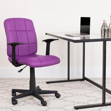View Product - Mid-Back Purple Quilted Vinyl Swivel Task Office Chair with Arms