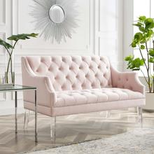 Proverbial Tufted Performance Velvet Loveseat in Pink