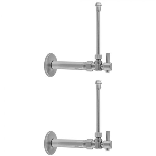 """Jaclo - Polished Nickel - Quarter Turn Angle Pattern 3/8"""" IPS x 3/8"""" O.D. Faucet Supply Kit with Contempo Lever Handle, 20"""" Supply Tubes, Escutcheons"""