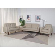8137 3PC BEIGE Linen Stationary Tufted Back Living Room SET