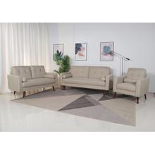 See Details - 8137 3PC BEIGE Linen Stationary Tufted Back Living Room SET