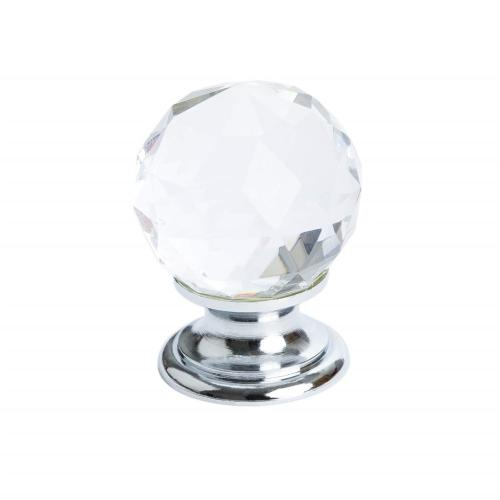 Europa Faceted Crystal Polished Chrome Knob