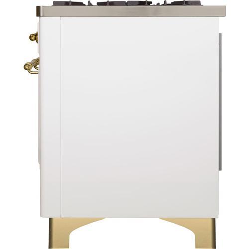 Majestic II 40 Inch Dual Fuel Liquid Propane Freestanding Range in White with Brass Trim