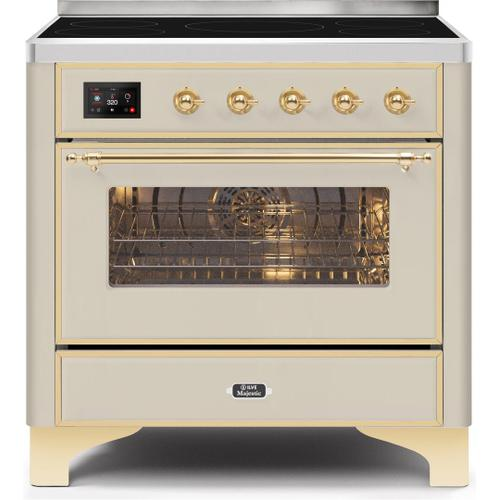 Ilve - Majestic II 36 Inch Electric Freestanding Range in Antique White with Brass Trim