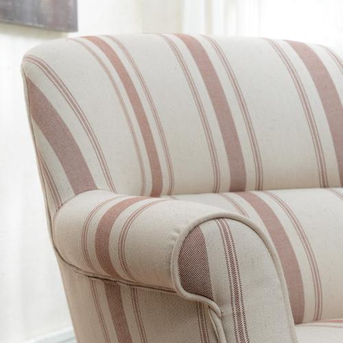 Accentrics Home - Upholstered Roll Arm Accent Chair in Cambridge Brick Stripe