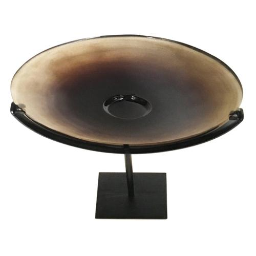 Miramar Tall Umber Blown Glass Disc with Stand
