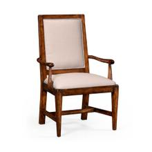 Rustic walnut upholstered armchair with lattice back