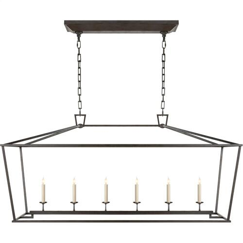 Visual Comfort CHC2166AI E. F. Chapman Darlana 6 Light 54 inch Aged Iron Linear Pendant Ceiling Light