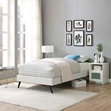 View Product - Loryn Twin Vinyl Bed Frame with Round Splayed Legs in White
