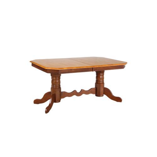 Double Pedestal Trestle Dining Table w/Butterfly Top - Nutmeg with Light Oak Finish