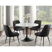 Colfax 5 Piece Black Base/White Marble Top Dining(Table & 4 Side Chairs)