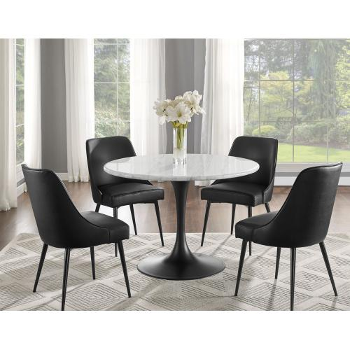 Gallery - Colfax 5 Piece Black Base/White Marble Top Dining(Table & 4 Side Chairs)