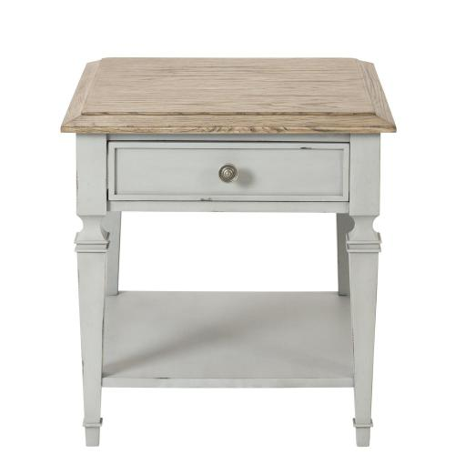 Square Side Table - Antique Oak/chipped Gray Finish
