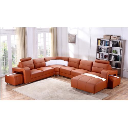Divani Casa T358B Modern Orange & White Leather Sectional Sofa