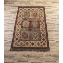 Red Multi Medallion 5' x 8' Kilim Rug