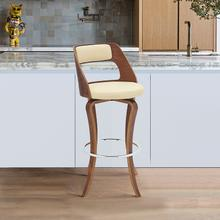 "Grady 26"" Swivel Cream Faux Leather and Walnut Wood Bar Stool"