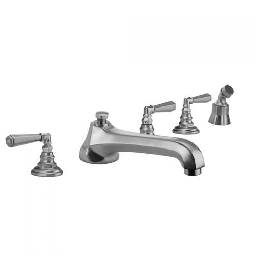Jaclo - Antique Brass - Westfield Roman Tub Set with Low Spout and Hex Lever Handles and Angled Handshower Mount