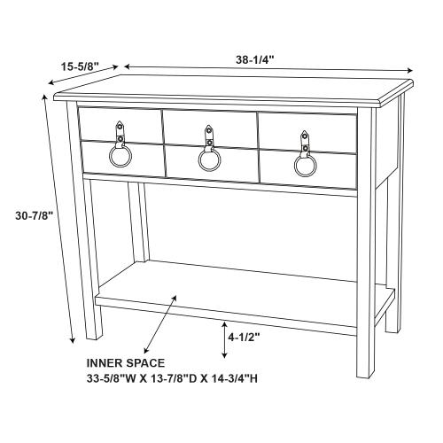 3-drawer and 1-shelf Console Table, Colorful