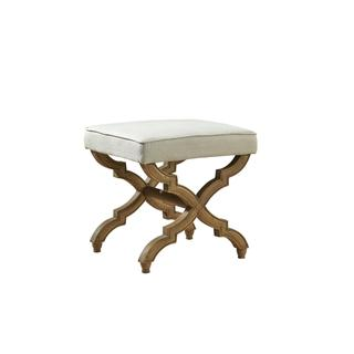 See Details - Linen and Oak Foot Stool