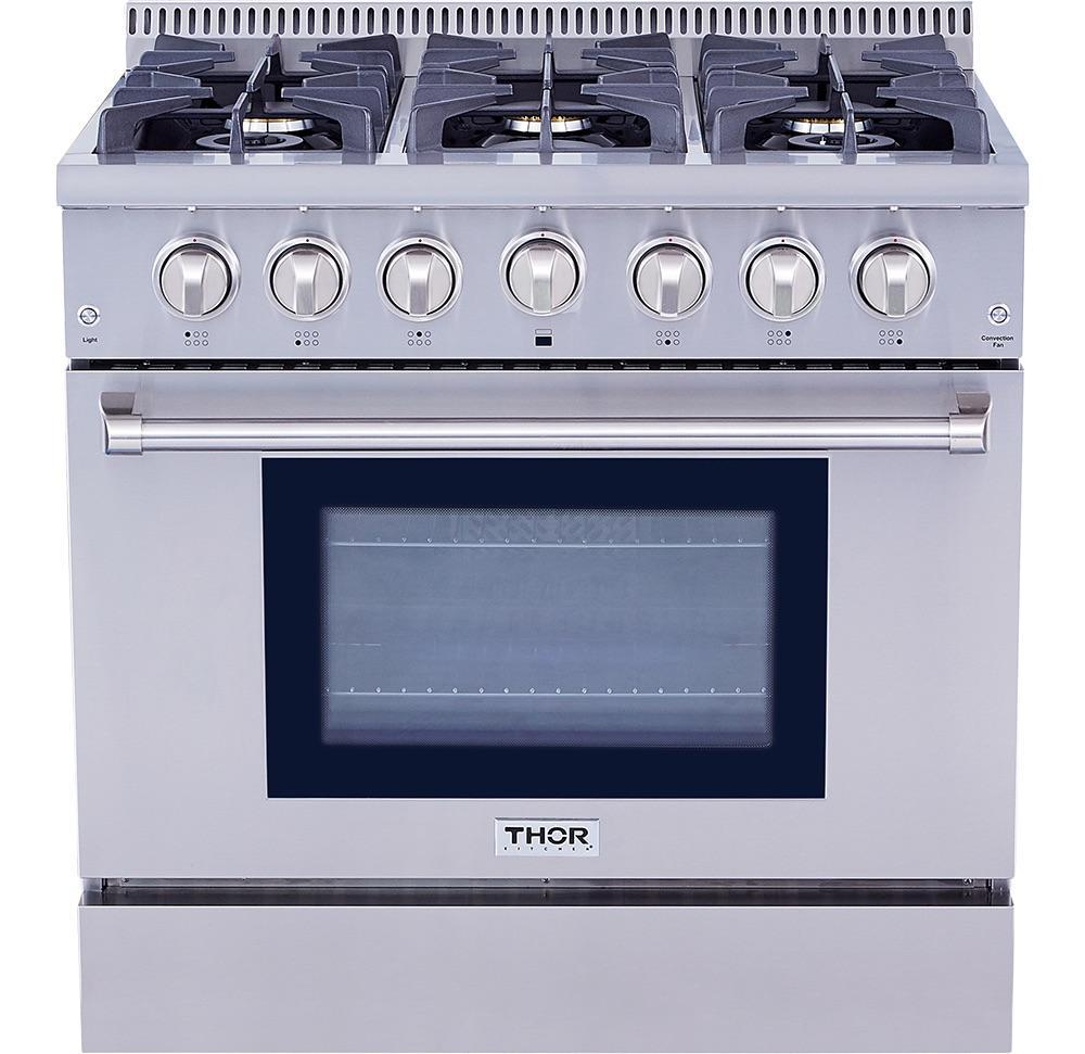 Thor Kitchen36 Inch Professional Gas Range In Stainless Steel - Liquid Propane