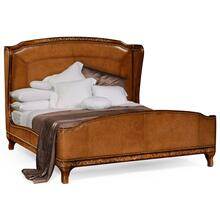 Burl and mother of pearl inlaid Louis XV style Brown leather bed (US King)