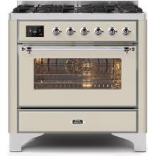 Majestic II 36 Inch Dual Fuel Liquid Propane Freestanding Range in Antique White with Chrome Trim
