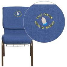 Embroidered HERCULES Series 18.5''W Blue Fabric Church Chair with 4.25'' Thick Seat, Cup Book Rack - Gold Vein Frame