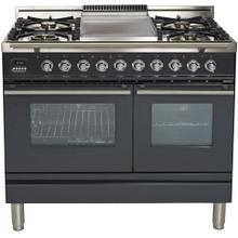 Professional Plus 40 Inch Dual Fuel Liquid Propane Freestanding Range in Matte Graphite with Chrome Trim