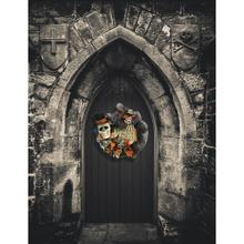 Haunted Hill Farm 20-In. Halloween Ribbon Wreath Door Hanging with Beware Sign, Skeleton, Bows, and Black Leaves, HH020HLWR002-0MLT