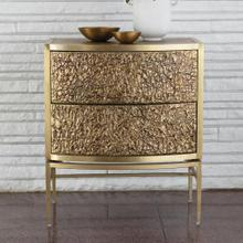 Crinkle Bedside Chest-Brass/Bronze