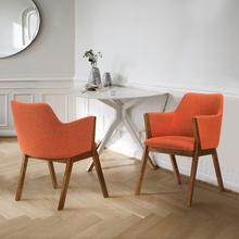 View Product - Renzo Orange Fabric and Walnut Wood Dining Side Chairs - Set of 2