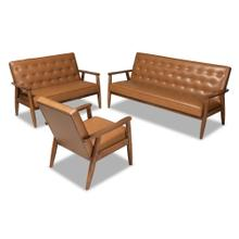 See Details - Baxton Studio Sorrento Mid-Century Modern Tan Faux Leather Upholstered and Walnut Brown Finished Wood 3-Piece Living Room Set
