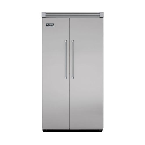 "Viking - Metallic Silver 42"" Side-by-Side Refrigerator/Freezer - VISB (Integrated Installation)"