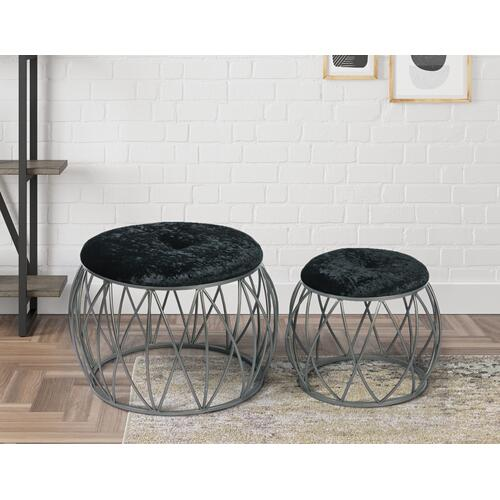 Emerald Home Furnishings - Emerald Home Ac351-rd-blk-2pcset Sorrento Stool Set, Silver