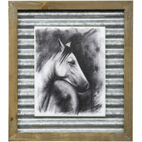 Style Craft - CHARCOAL EQUESTRIAN I  16in X 14in  Made in the USA  Textured Framed Print