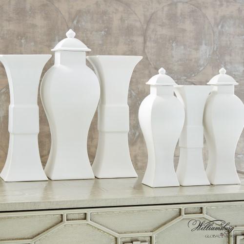 Garniture Urn-Matte White-Lg
