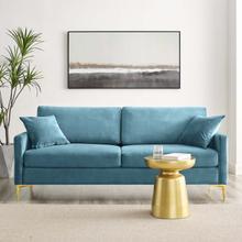 Juliana Performance Velvet Sofa in Sea Blue