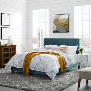 Product Image - Amira Queen Performance Velvet Bed in Sea Blue