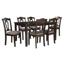 Grandville Dining Table with Six Chairs Set, Cherry Brown
