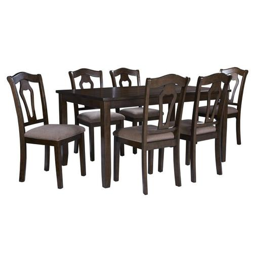 Gallery - Grandville Dining Table with Six Chairs Set, Cherry Brown