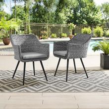 Endeavor Dining Armchair Outdoor Patio Wicker Rattan Set of 2 in Gray Gray