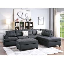 Disha 3pc Reversible Sectional Sofa Set, Ash-black-cotton-blend