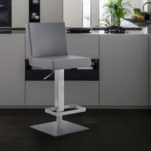 Legacy Contemporary Swivel Barstool in Brushed Stainless Steel and Grey Faux Leather